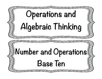 Student Friendly Common Core Math I Can Statements Grade 4 - Gray Chevron