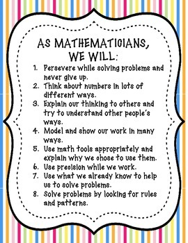 Student Friendly Common Core State Standards for Mathematical Practice