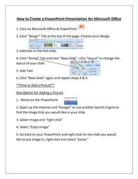 Student Friendly Directions on how to create a Microsoft PowerPoint