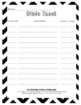 Student Friendly Grade Sheet (for students to keep up with their own grades)