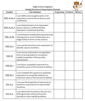 Student-Friendly I Can CCSS HS Algebra I Math Checklists for Student Notebooks