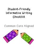 Student Friendly Informative Checklist