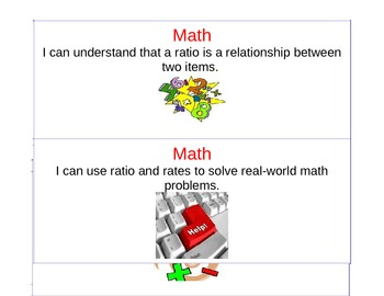 Student Friendly Math Objective Cards