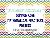 """""""Student-Friendly"""" Mathematical Practice Standards Posters - Rainbow Chevron"""