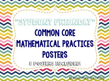 """Student-Friendly"" Mathematical Practice Standards Posters - Rainbow Chevron"