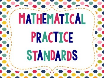 """Student-Friendly"" Mathematical Practice Standards Posters - Rainbow Polka Dots"