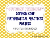 """""""Student-Friendly"""" Mathematical Practice Standards Posters - Yellow Polka Dots"""