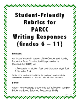 Student-Friendly PARCC Rubrics for Writing Responses (Grades 6-11)