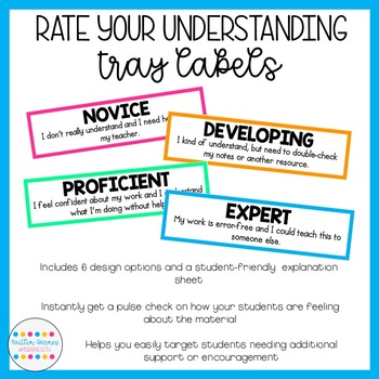 Student-Friendly Rate Your Understanding Turn In Tray Labels