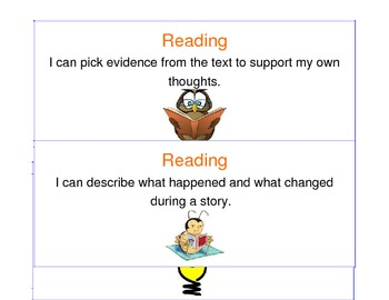 Student Friendly Reading Objective Cards