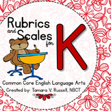 Student Friendly Scale & Rubric for ELA Kindergarten (Common Core Aligned)