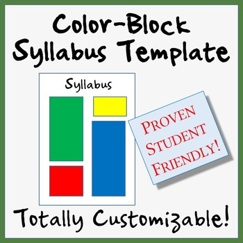 Student-Friendly Two-Page Color-Block Syllabus Template - Totally Customizable