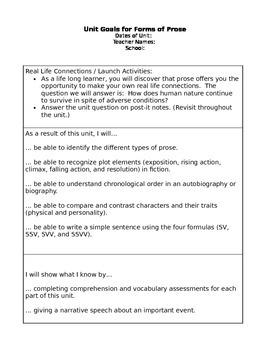 Student Friendly Unit Plan: Prose