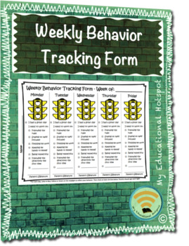 Student Friendly Weekly Behavior Tracker Form