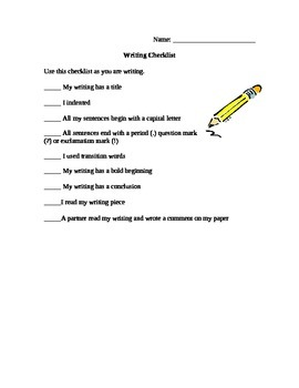Student Friendly Writing Checklist