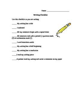 Student Friendly Writing Checklist