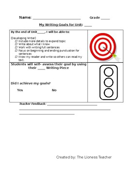 Student Friendly Writing Goals
