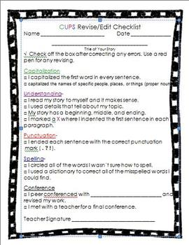 Writing Process with checklist for the Student-Great for Classroom Managment