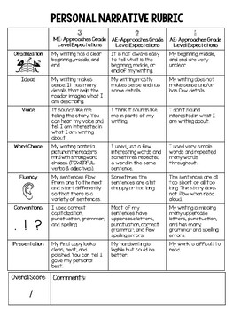 Student Friendly Writing Rubric 6 Traits Writing Personal Narrative Rubric