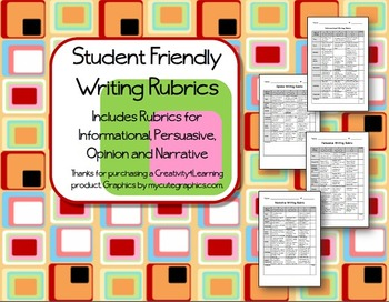 Student Friendly Writing Rubrics