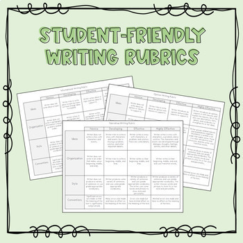 Student Friendly Writing Rubrics Worksheets Teachers Pay