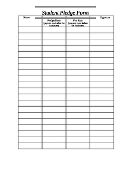 Student Fundraising Pledge Form