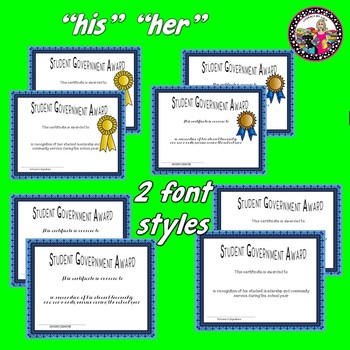 Student GOVERNMENT Award *End of the Year! Editable!