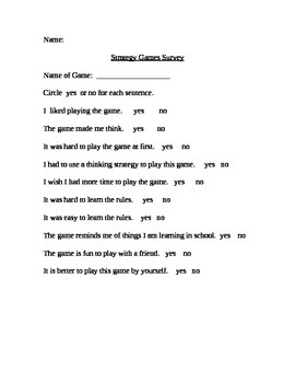 Student Game Feedback Sheets