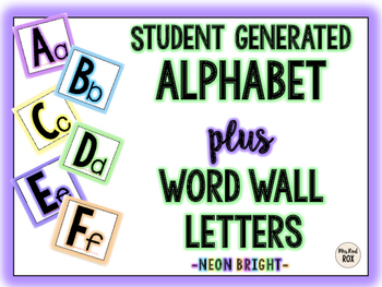Student Generated Alphabet PLUS Word Wall Labels -NEON-
