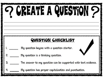 Student Generated Questions Activity Sheet with Checklist