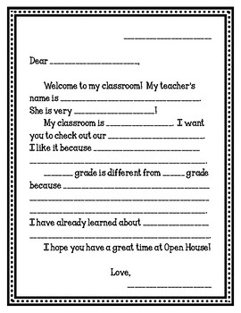 Welcome Letter Template Worksheets Teaching Resources Tpt