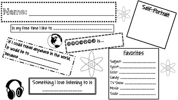 Student Get to Know You Doodle Notes for Science