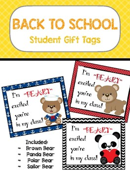 "Student Gift Tag - ""Beary"" Excited"