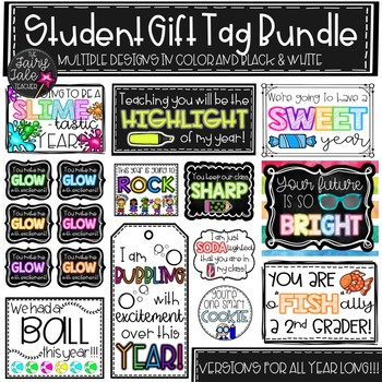 Student Gift Tag Bundle, Back to School Tags, End of Year Tags