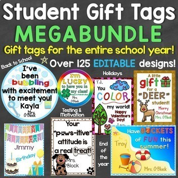 Student Gift Tags MEGA Bundle (Back to School, Holidays, End of Year, Testing)