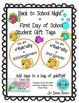 """Student Gift Tags: You are o""""fish""""ally in ____ grade!"""