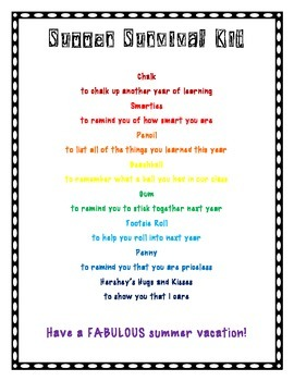 Student Gifts: Summer and First Day of School Survival Kits