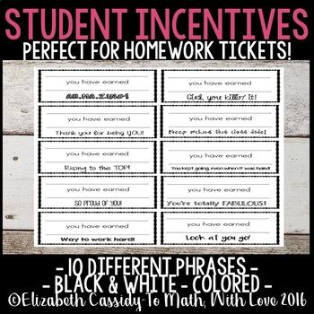 Student Incentives-Tickets-Award Tickets-Homework Tickets