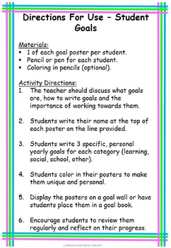 Student Goal Setting Back to School or End of Year Fun, Printable Worksheet