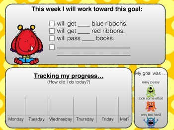 Student Goal Setting Weekly Chart