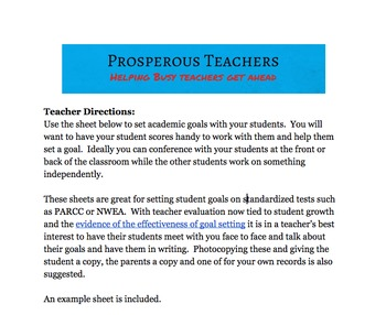 Student Goal-Setting Worksheet for Standardized Test