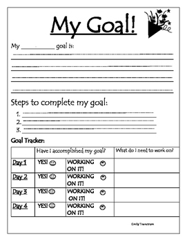 Student Goal Setting and Tracker
