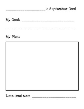Student Goal Setting sheet - September