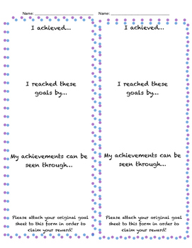 Student Goal Sheet Completion Form