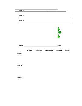 Student Goal Sheet Tracker-Frog