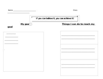 Student Goal Star sheet