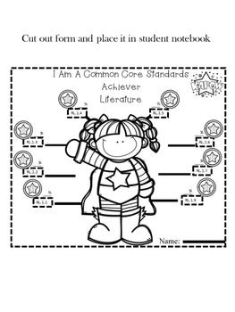 Student Goal Tracker  Common Core Standards Superhero Theme 1st Grade