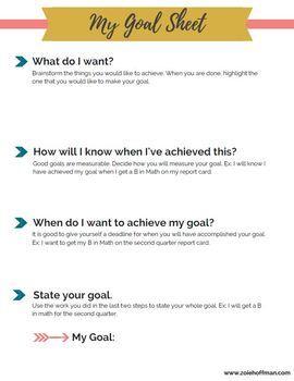 Student Goal Worksheet