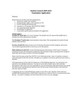Student Government Application with job descriptions