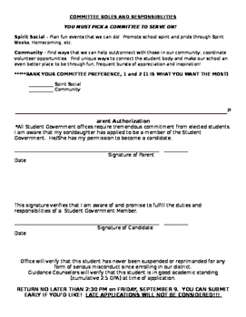Student Government Council Application Middle School High School Secondary